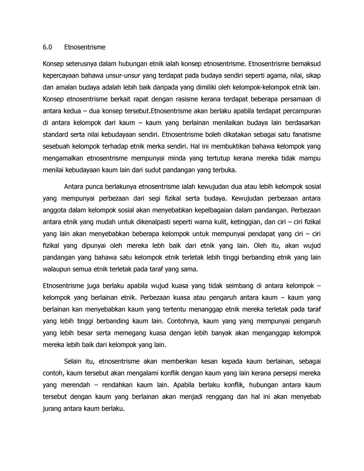 Konsep Etnosentrik Hubungan Etnik Uw00102 Ums Studocu