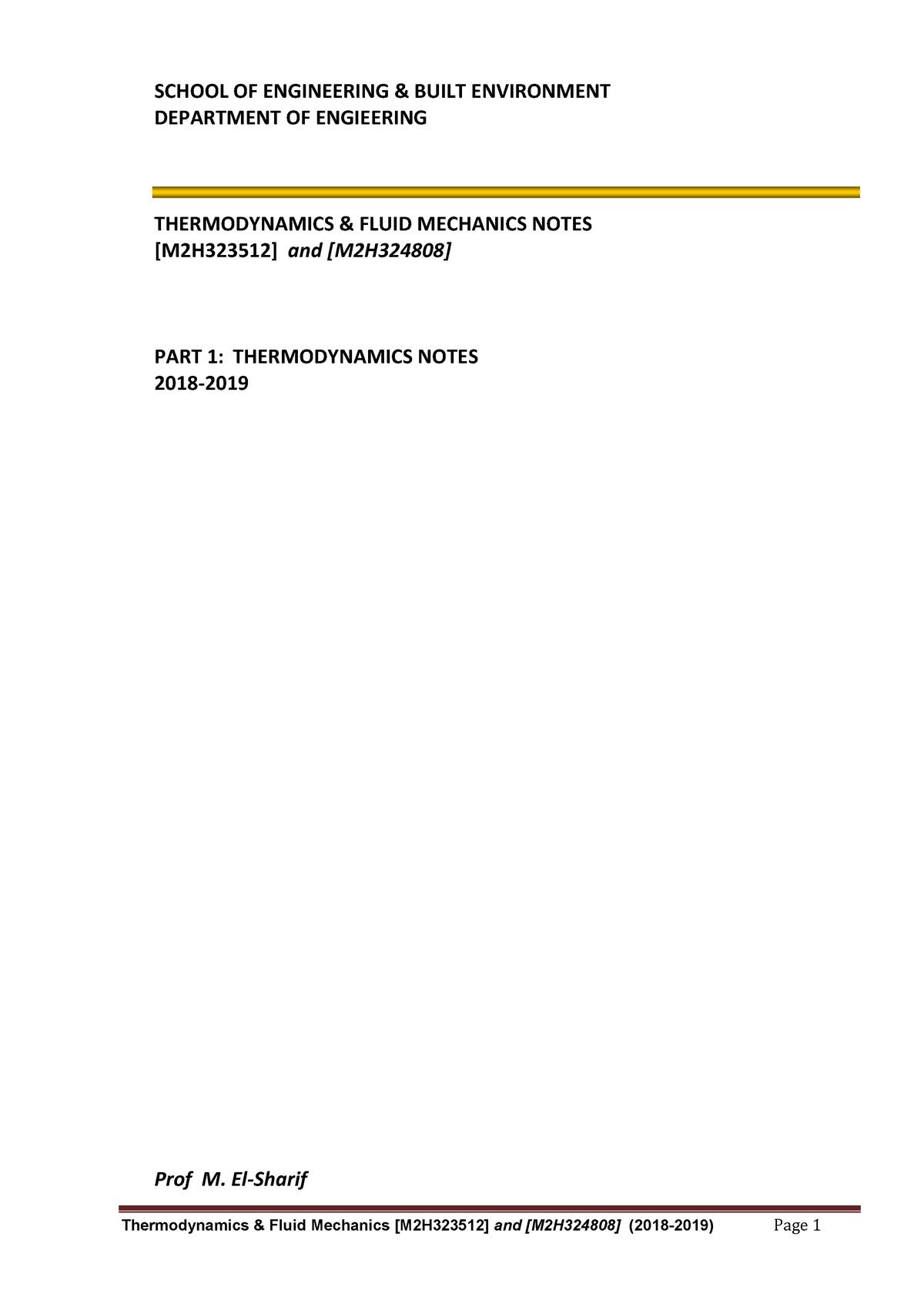 Part I - Thermodynamics Notes - M2H324808 - GCU - StuDocu