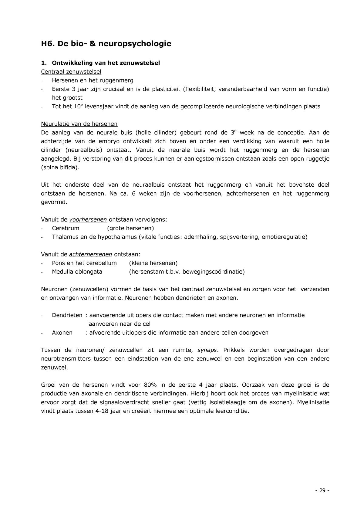 H6 De Bio Neuropsychologie Loi Studeersnel