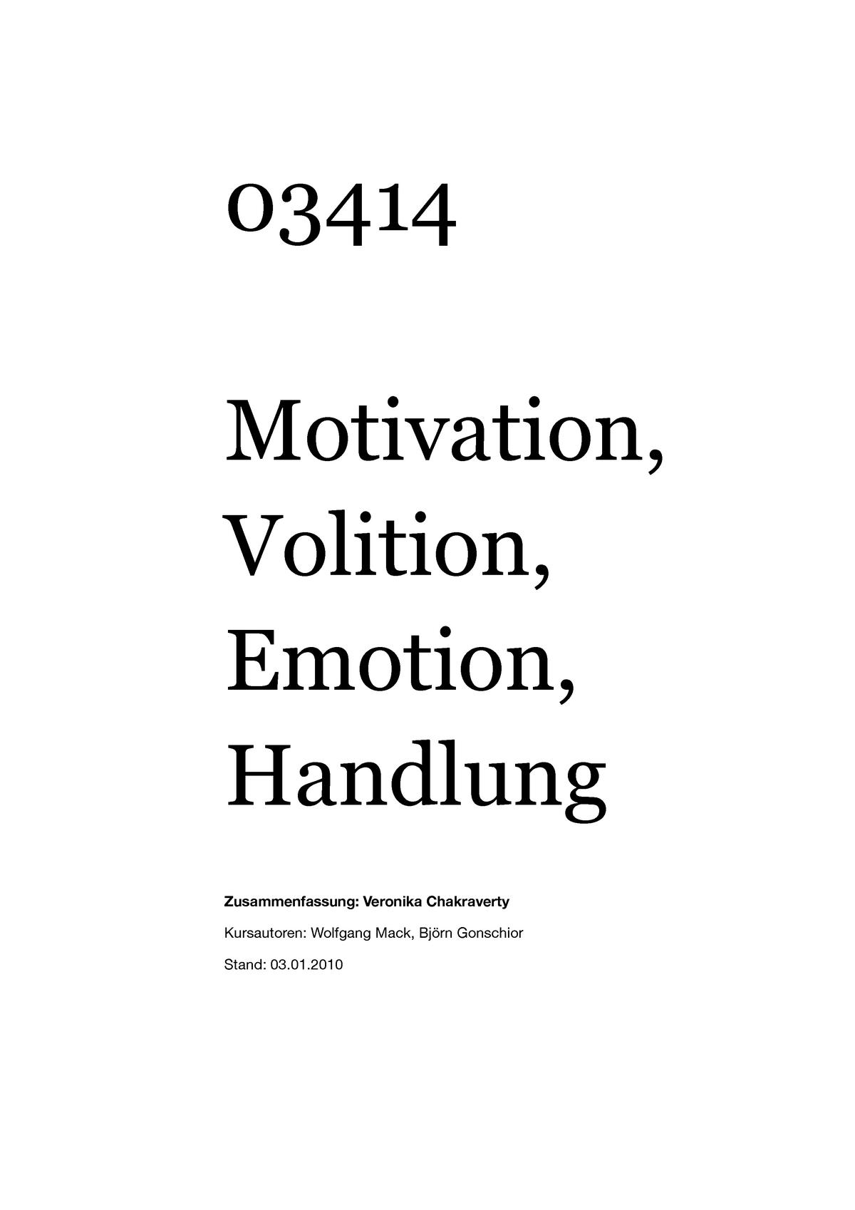 Zusammenfassung Motivation Volition Emotion Handlung Studocu