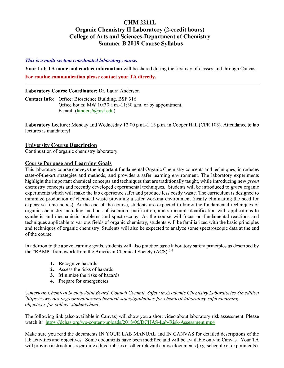 CHM 2211L- Syllabus SB 19 - CHM2211L: Organic Chemistry Laboratory