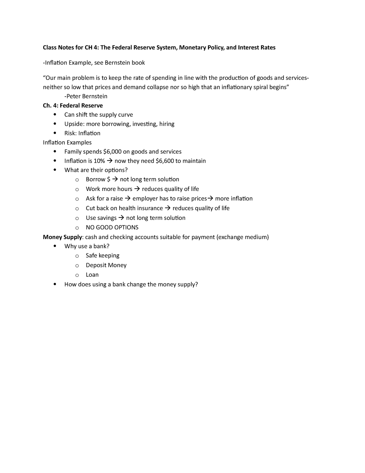 Class Notes for CH 4(1) Summary - book