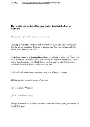 HSC Yr 12 Chemistry shipwrecks notes - CHE 111 - StuDocu