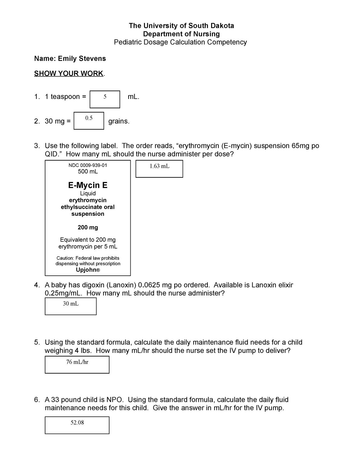N330 Peds Dosage Calc Lab Prep Studocu