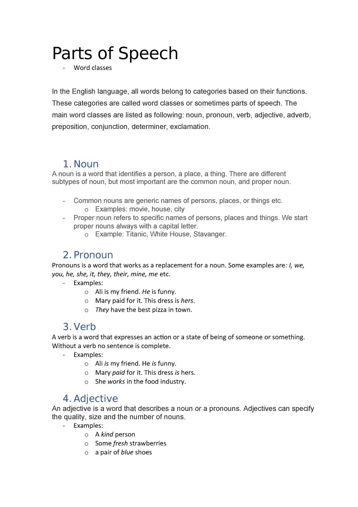Word classes - Parts of speech - ENG1100 - UiO - StuDocu