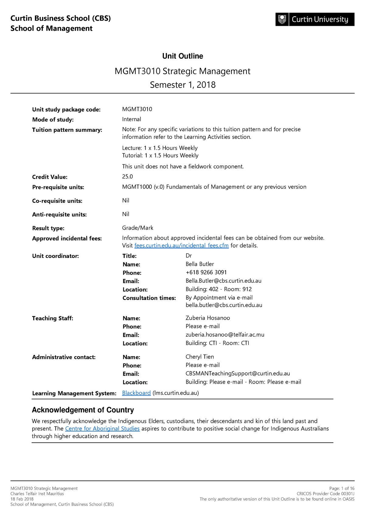 MGMT3010 Strategic Management Semester 1 2018 Charles Telfair Inst