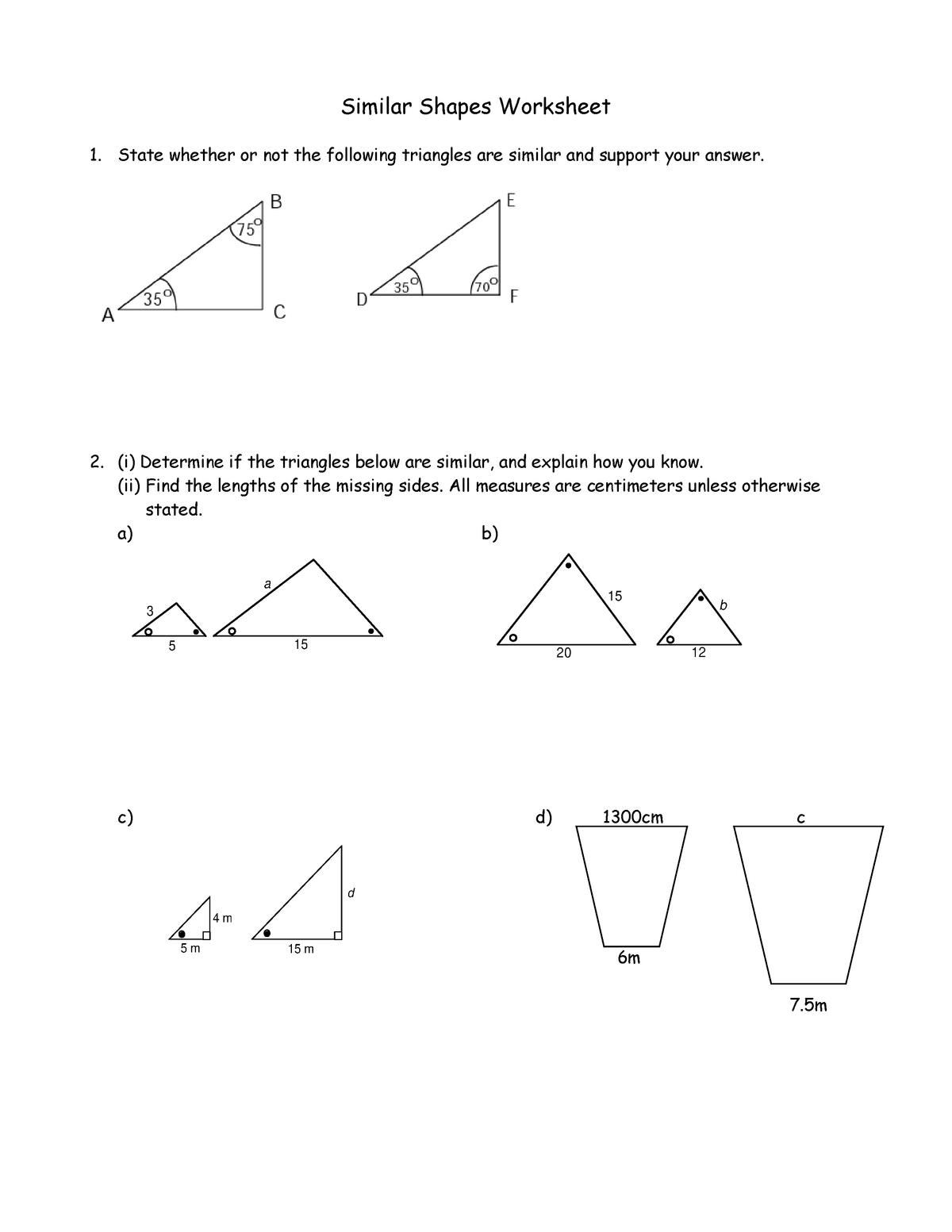 Similar Triangles Worksheet-24 - Similar Shapes Worksheet State Intended For Similar Figures Worksheet Answers