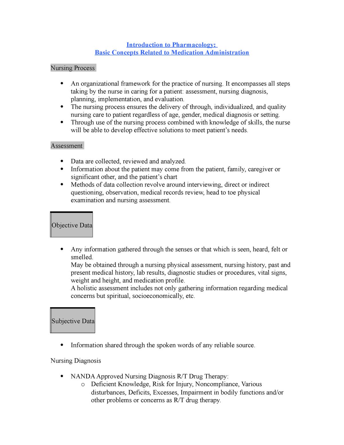 Pharm 1 EXAM 1 Notes - NUR 3191: Pharmacological Basis For Nursing