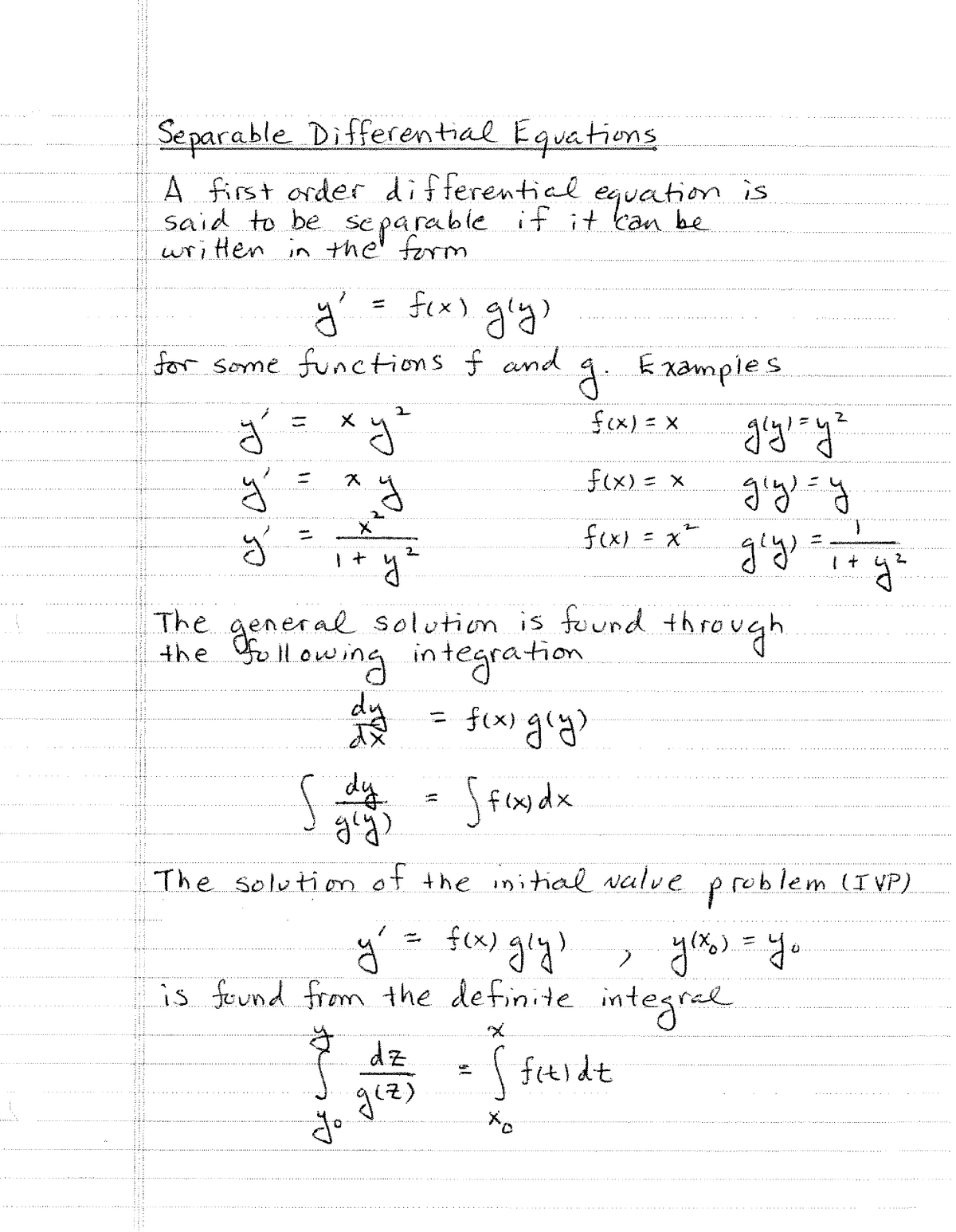 M450 2017-2018 Lecture Notes 2 - Separable Differential