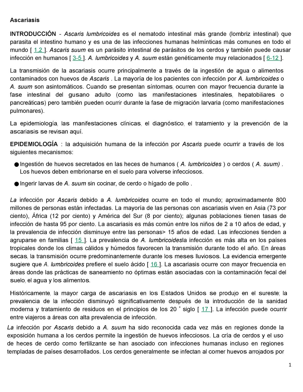 Ascariasis control parasito - Medicina humana - UPSJB - StuDocu