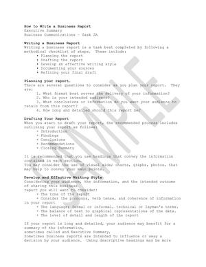 Business Communication – C716 Task 2 Executive Summary - StuDocu