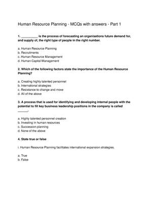 Human Resource Planning QUiz - HRM11131 - Napier - StuDocu