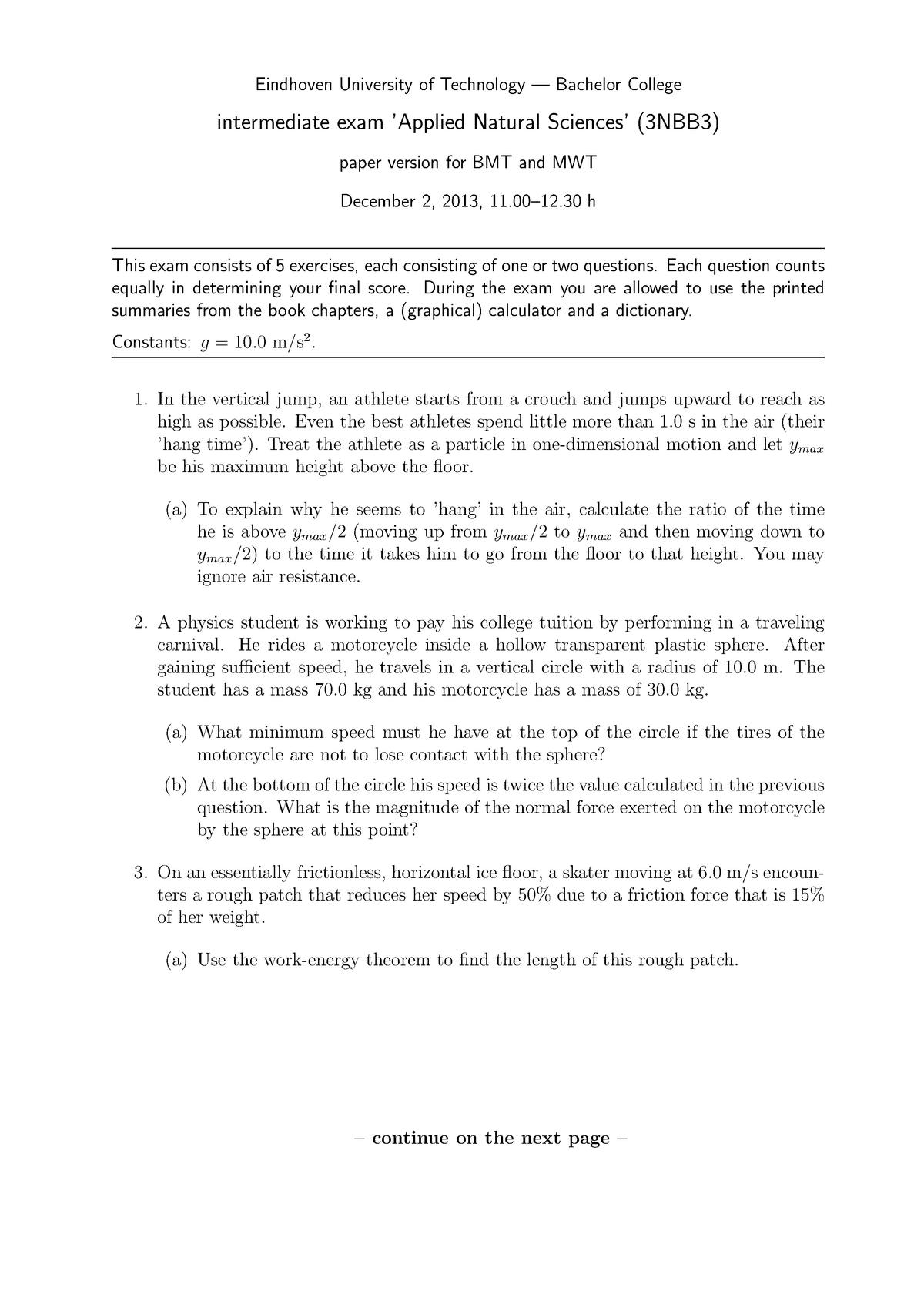 Exam 2013 - 3NBB0: Toegepaste natuurwetenschappen formeel