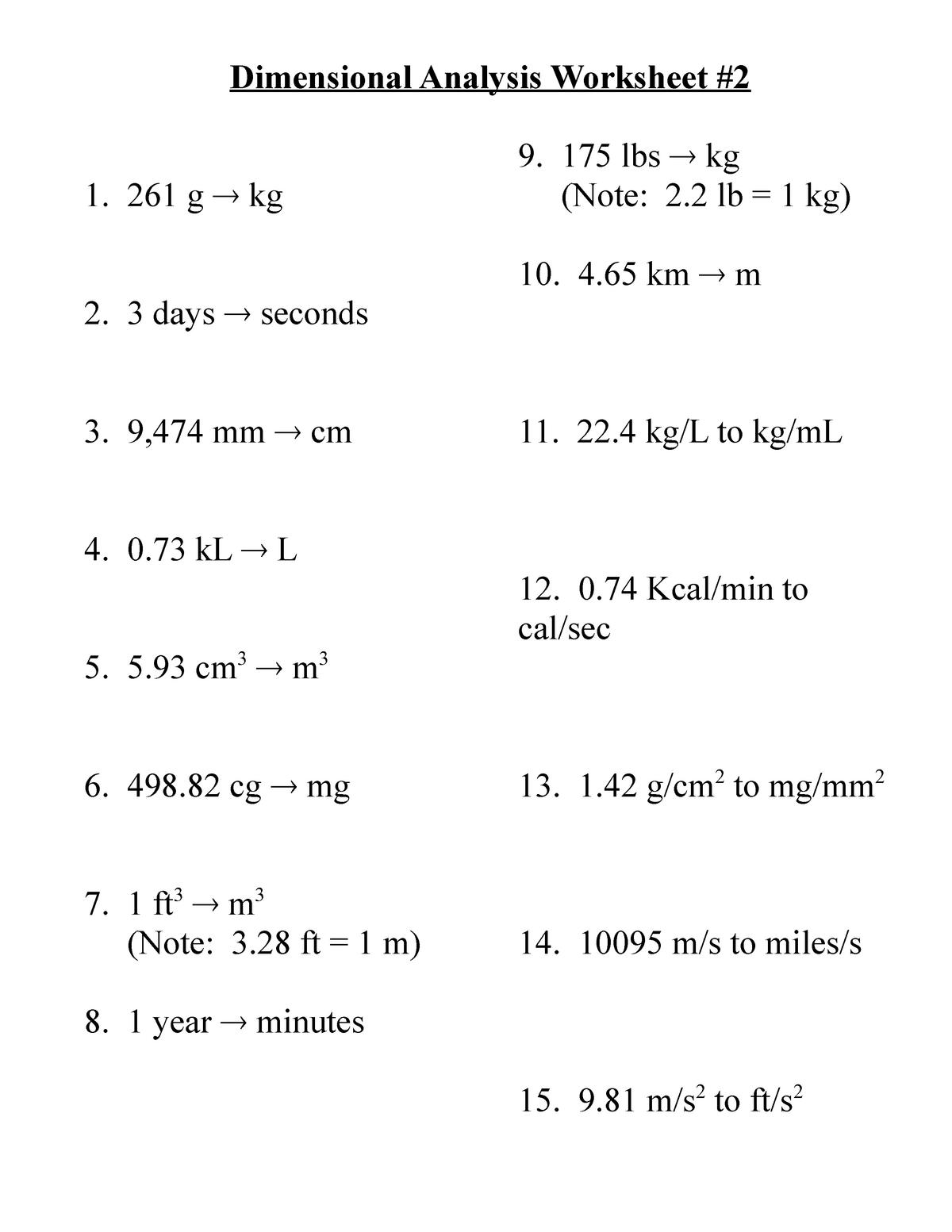 Dimensional analysis worksheet - CHEM 22 - Organic Chemistry I In Dimensional Analysis Practice Worksheet