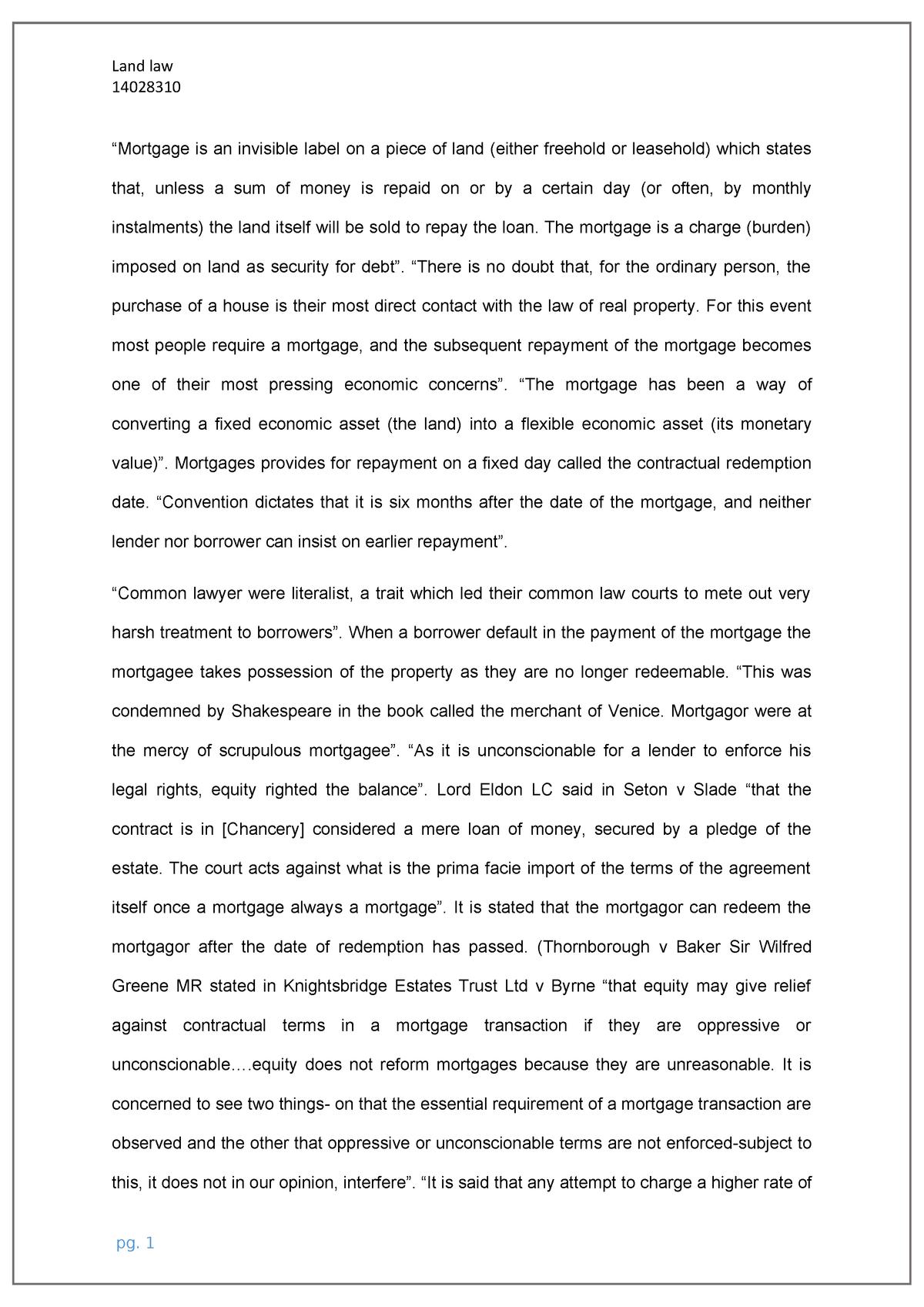 Land law essays