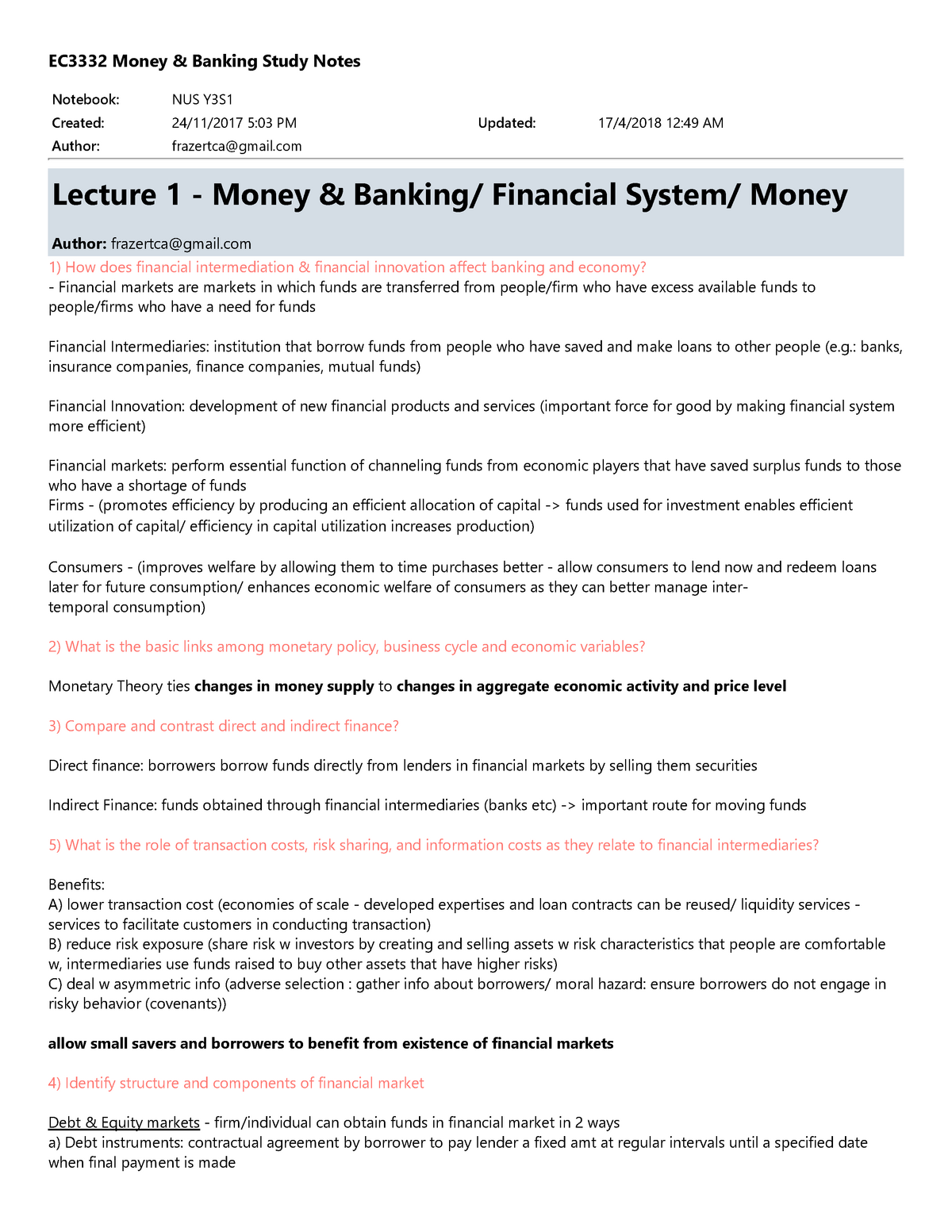 EC3332 Money & Banking Study Notes - StuDocu
