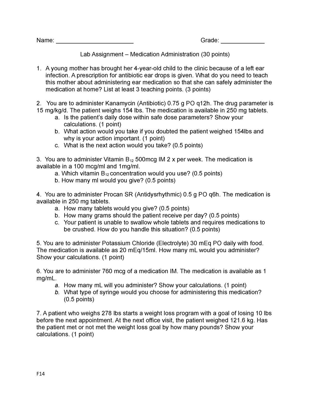 2221 Medication Administration F16 Lab Assignment - NRSG