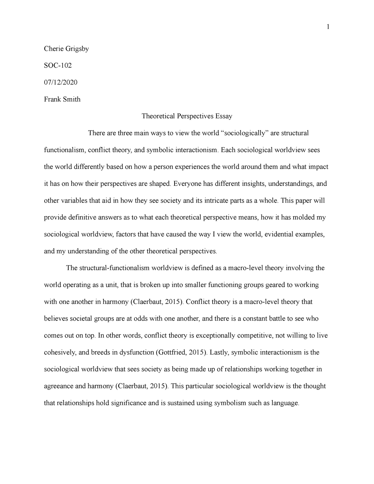 essay on theoretical approach in sociology