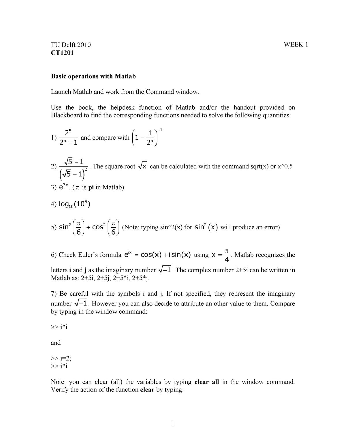 Programmeren en Modelleren - Assignments - exos - week1 - 8