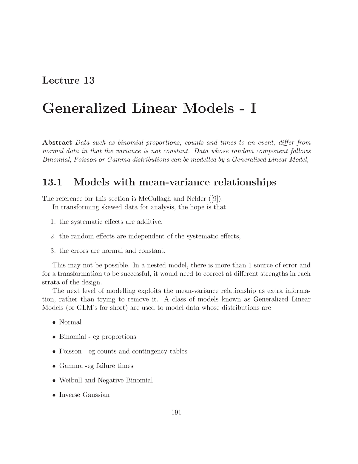 STAT 300 Lecture 13 - Generalized Linear Models I - STAT300