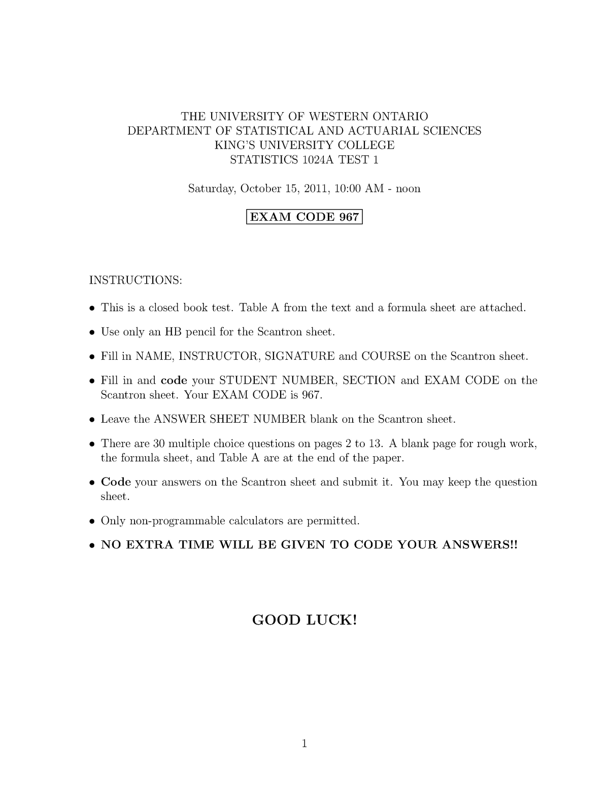 Exam 2011 - 1024 A/B: Introduction to Statistics - StuDocu