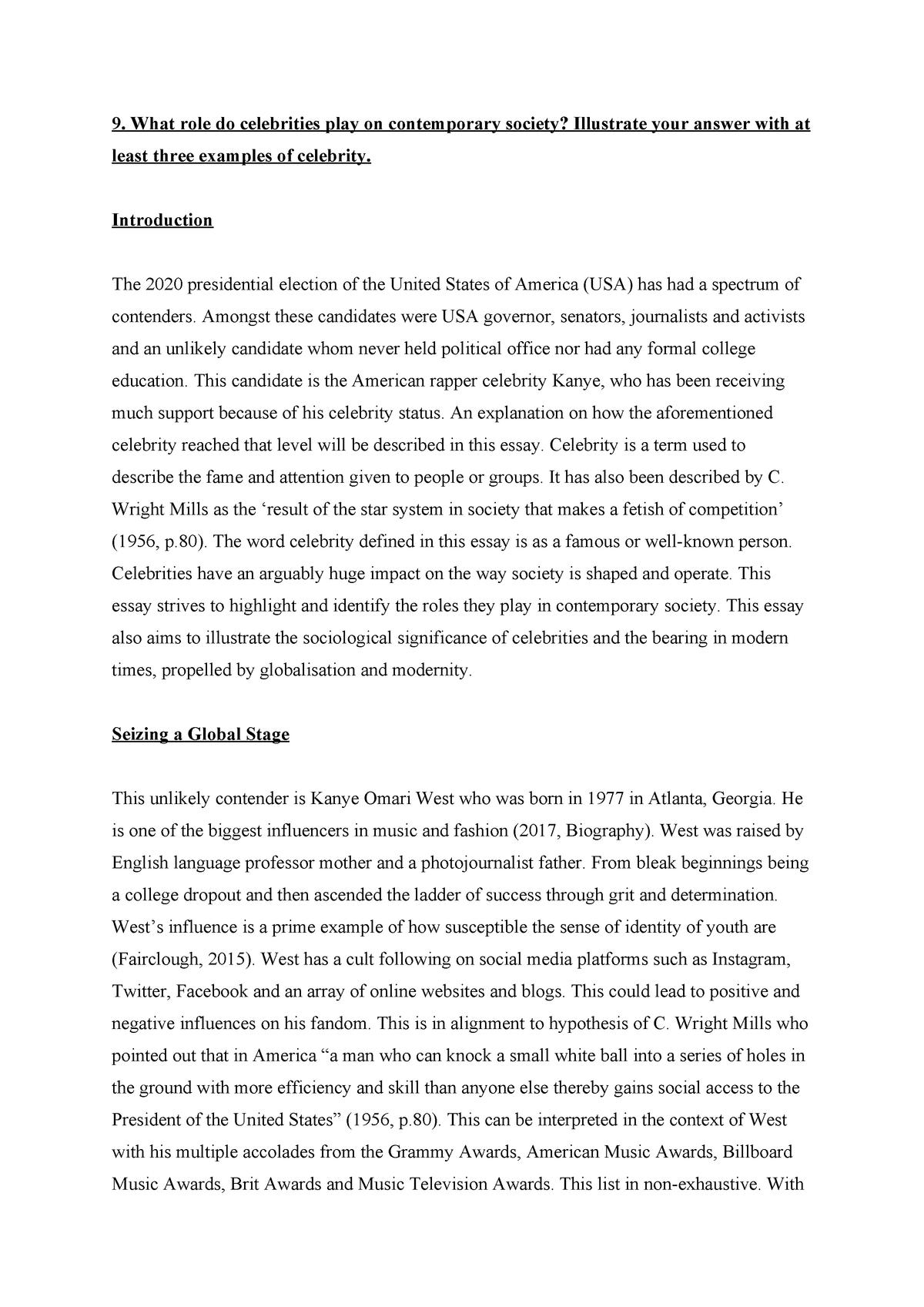 an essay on celebrities   hga sociology a   studocu