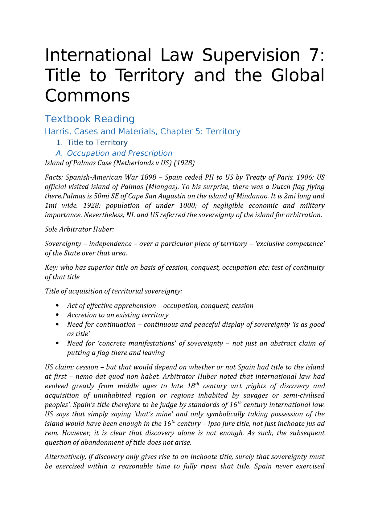 International Law Supervision 7 Notes Territory Commons