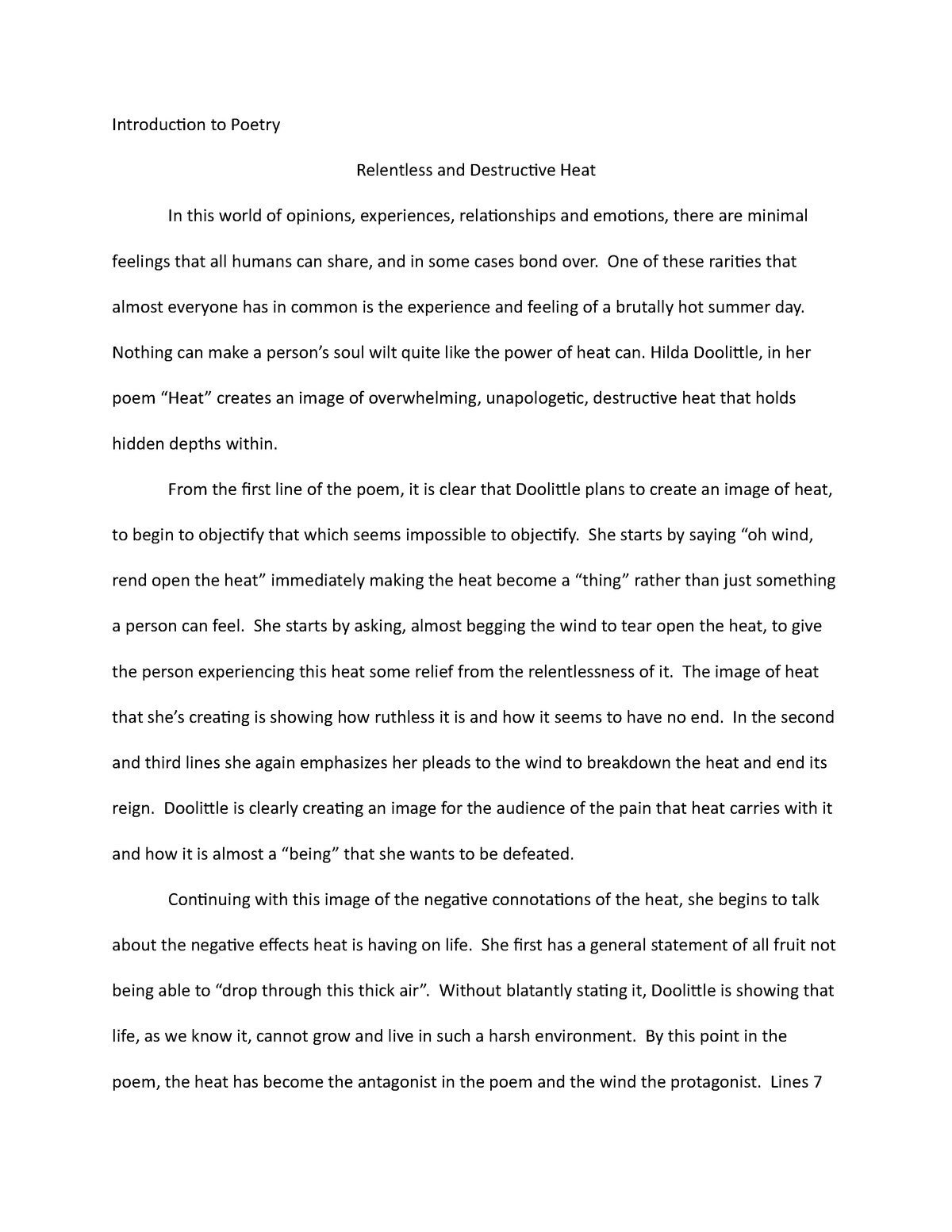 Poetry image analysis_essay - E 240: Introduction to Poetry