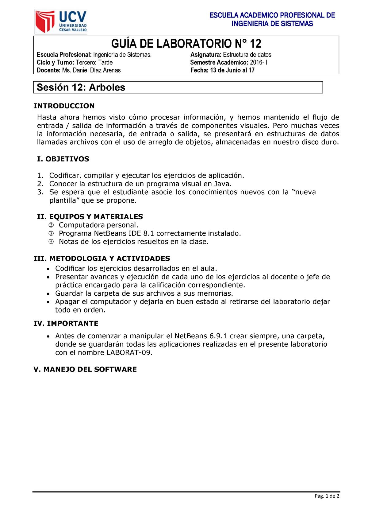 Guia Laboratorio 12 Arboles Estructura De Datos Ucv