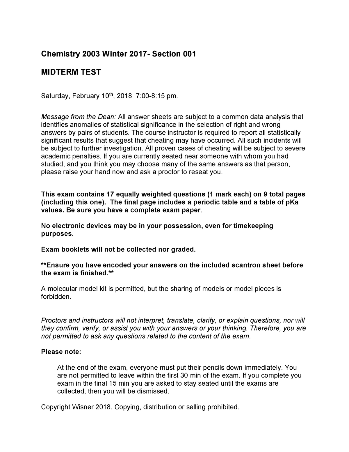 Midterm I 2019, answers - Chemistry 2003A/B - UWO - StuDocu
