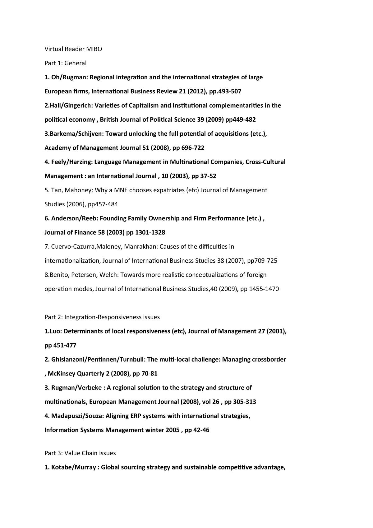 List of all articles - EBB638B05: Managing Intern  Bus