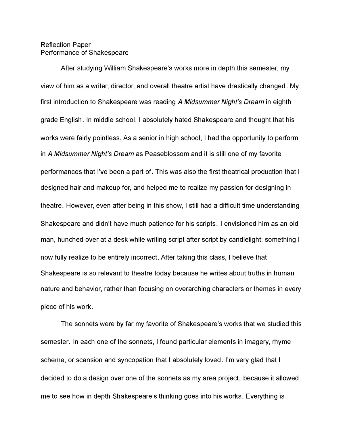 pay to do professional reflective essay on shakespeare