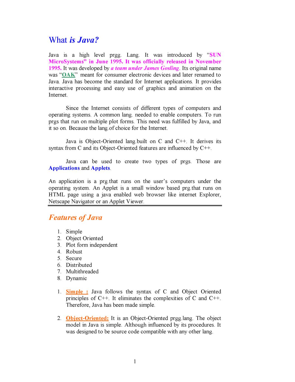 Java Summary - Detailed Notes about JAVA programming - StuDocu
