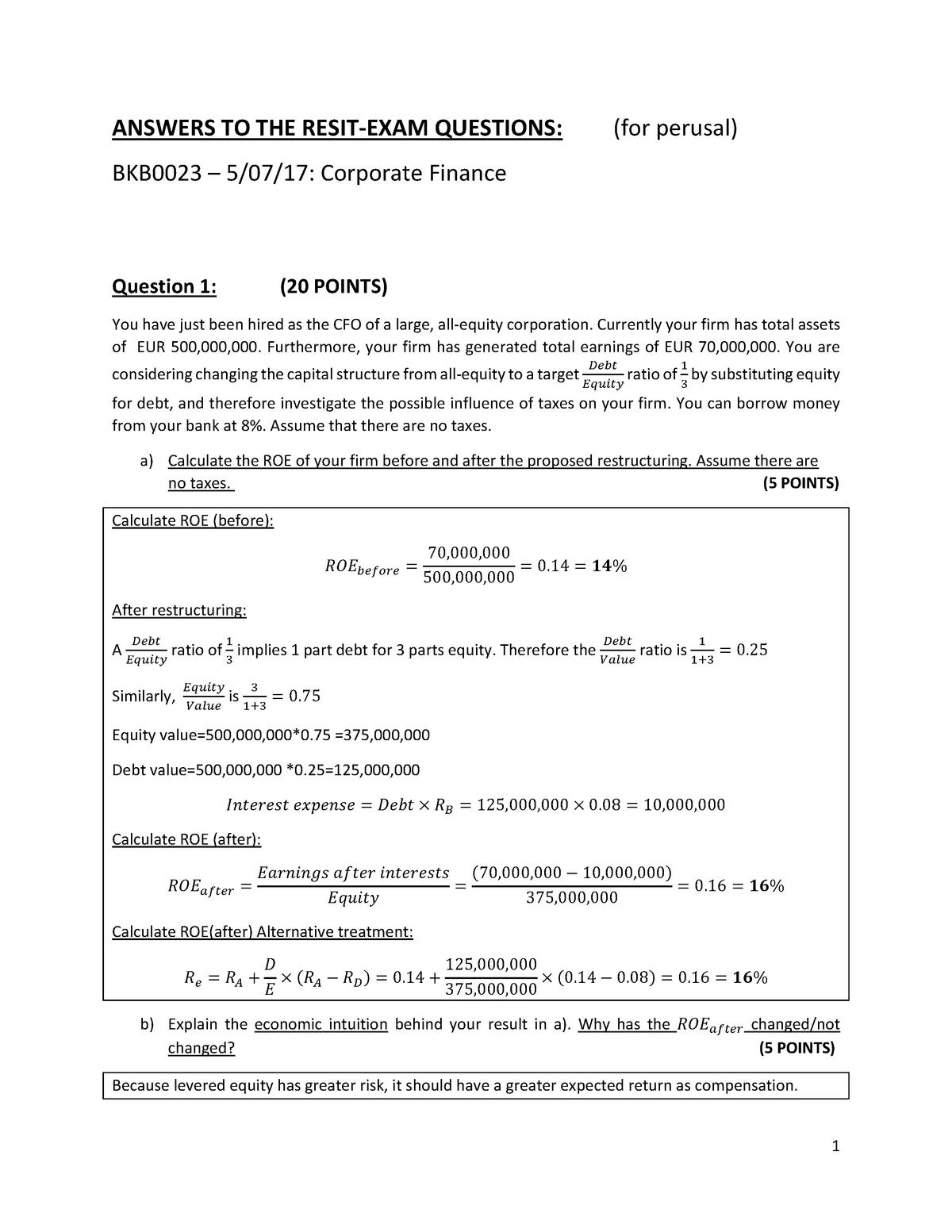 Exam 2017 - BKB0023: Corporate finance - StuDocu