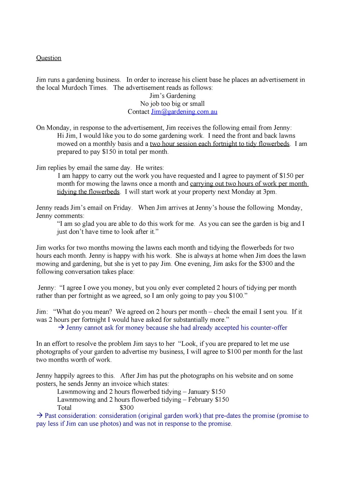 Jim's gardening - LLB260 Contract Law - Murdoch - StuDocu
