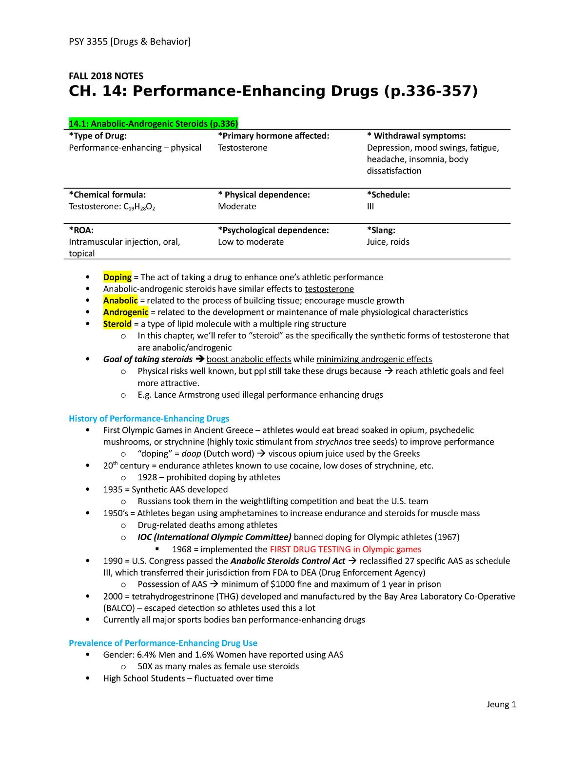 Ch  14 Performance-Enhancing Drugs - PSY 3355: Drugs And