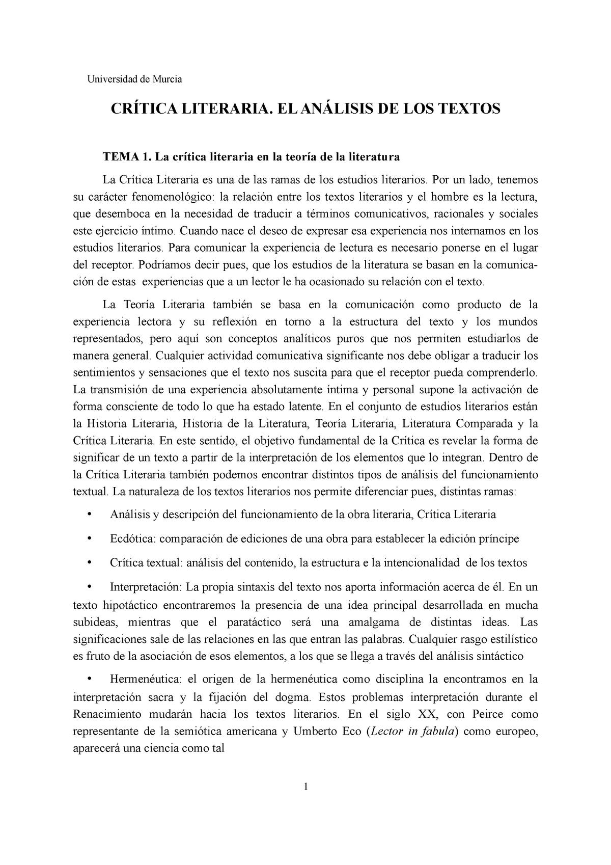 Crítica Literaria El Análisis De Los Textos I 1277 Um
