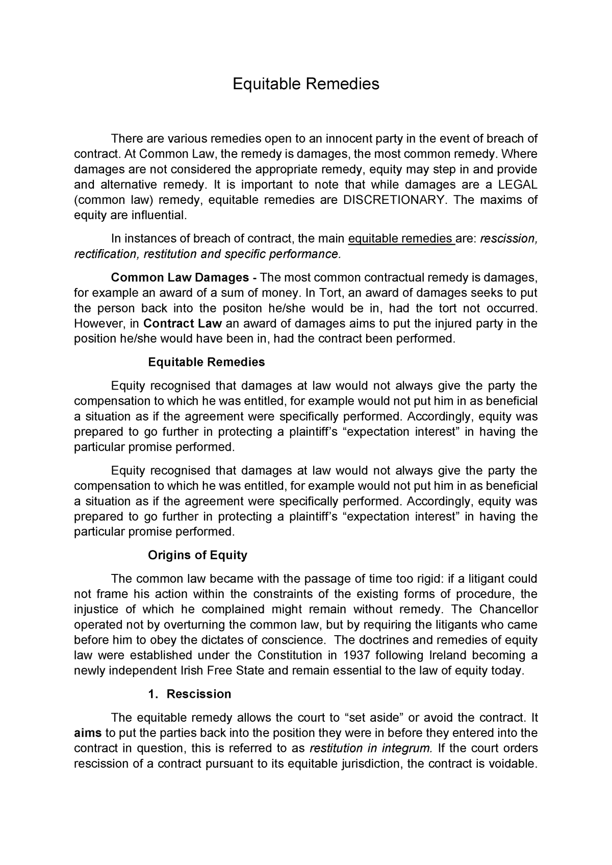 Equitable Remedies - The Law of Contract LG316 - StuDocu