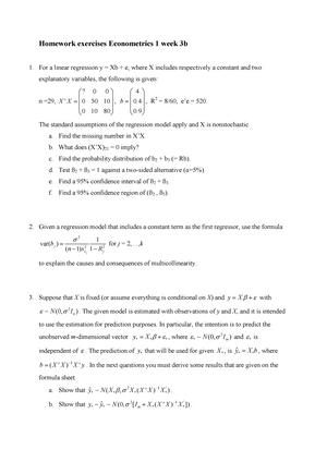 Homework 3b - Exercises to be made  - 6012B0285Y: Econometrie 1