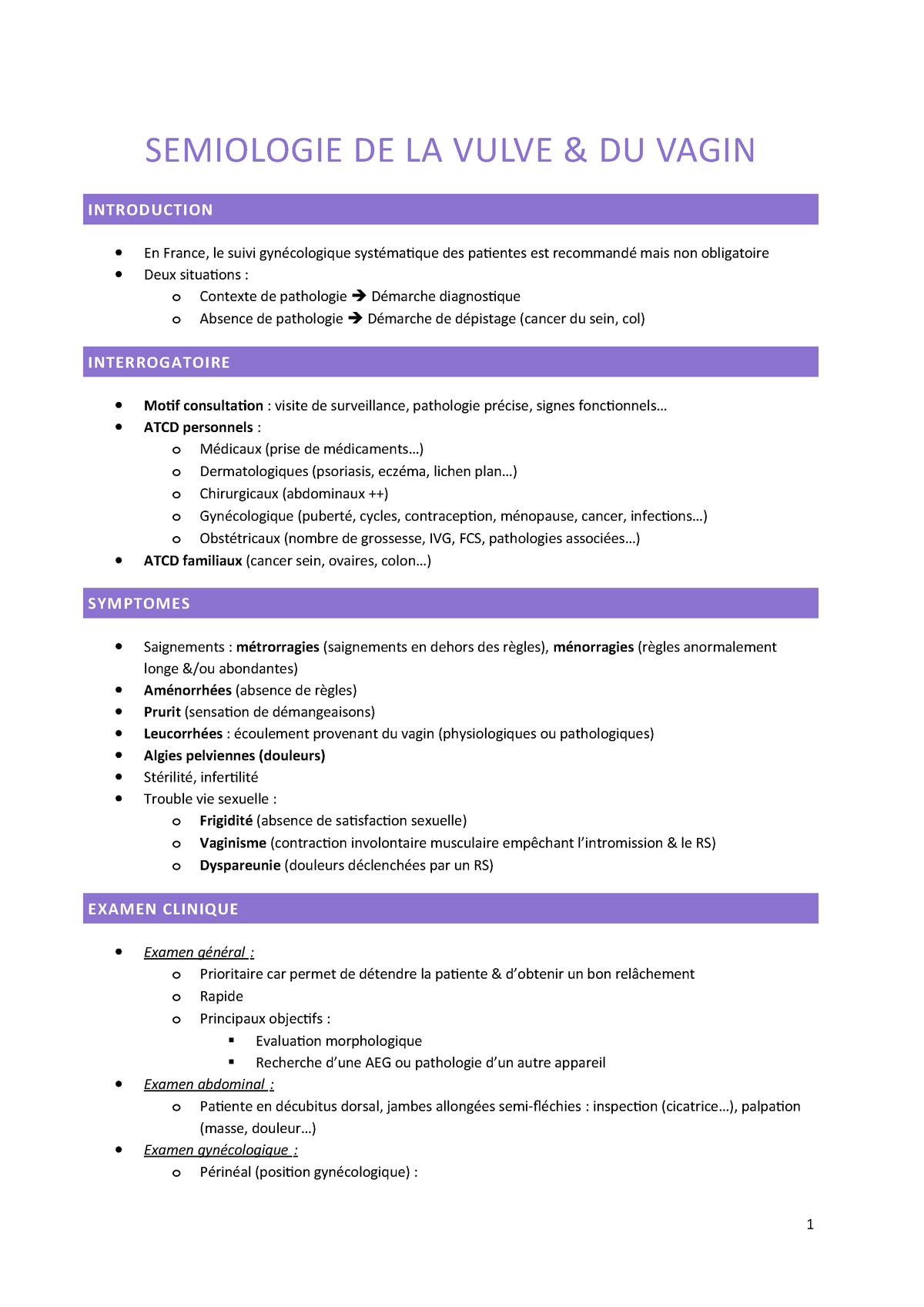 Vassilieff 1 - Sémiologie de la vulve et du vagin - - StuDocu