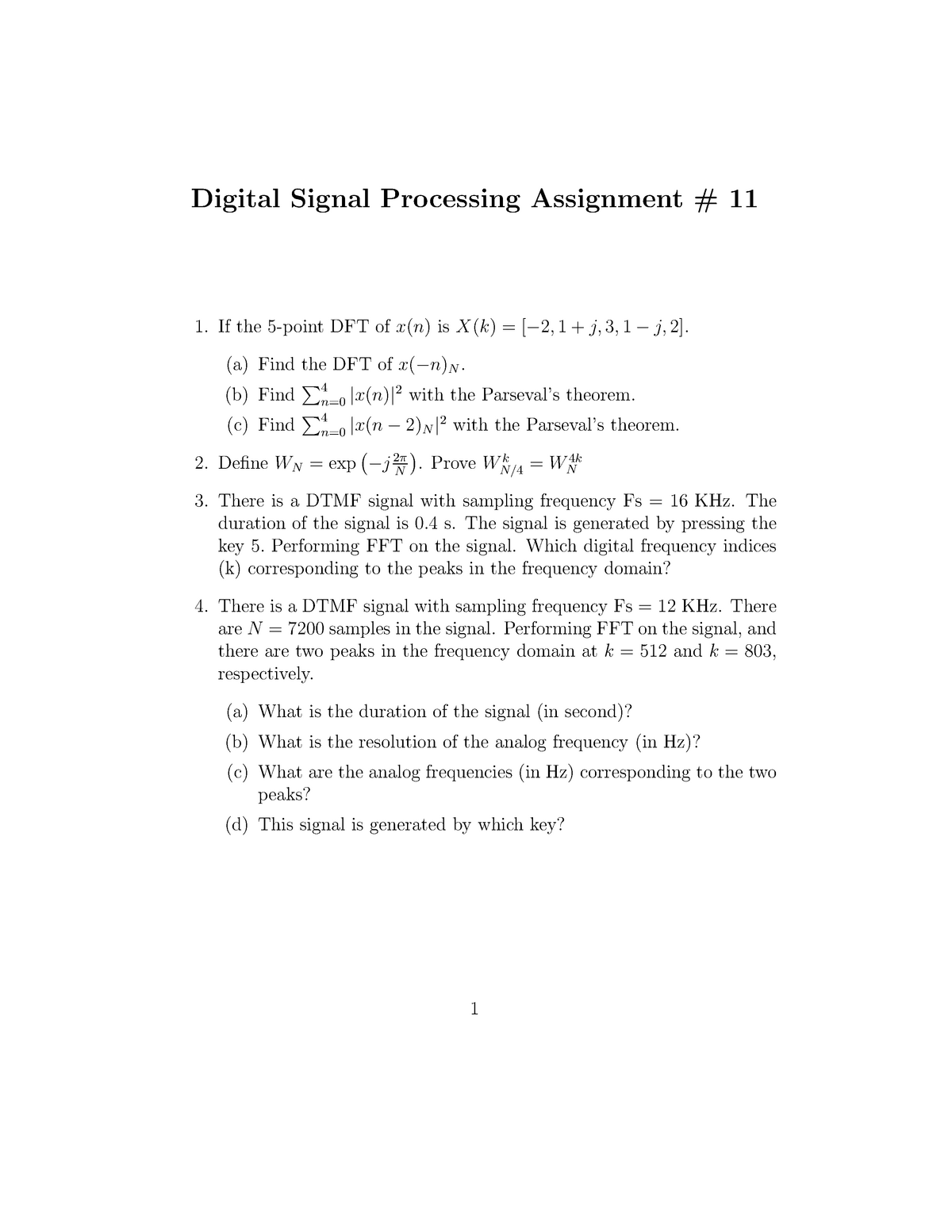 Assignment 11 - Questions - ELEG 5173L: Digital Signal Processing