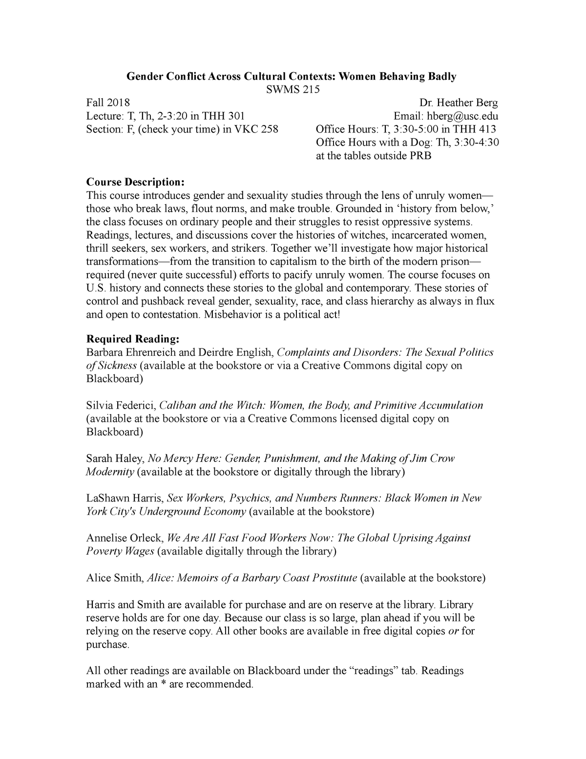 Syllabus, SWMS 215 Berg Final - SWMS215gp: Gender Conflict across