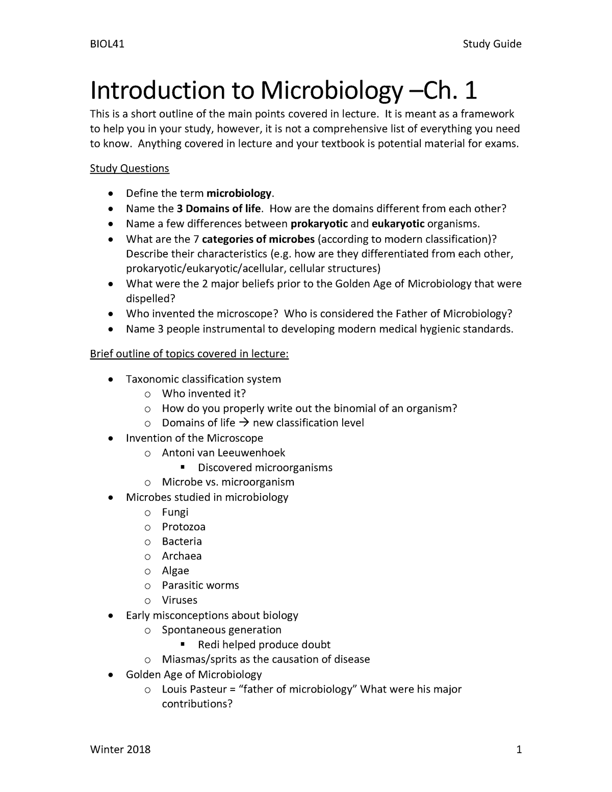 Study Guide Chapter 1 Introdution to Microbiology - METX 119