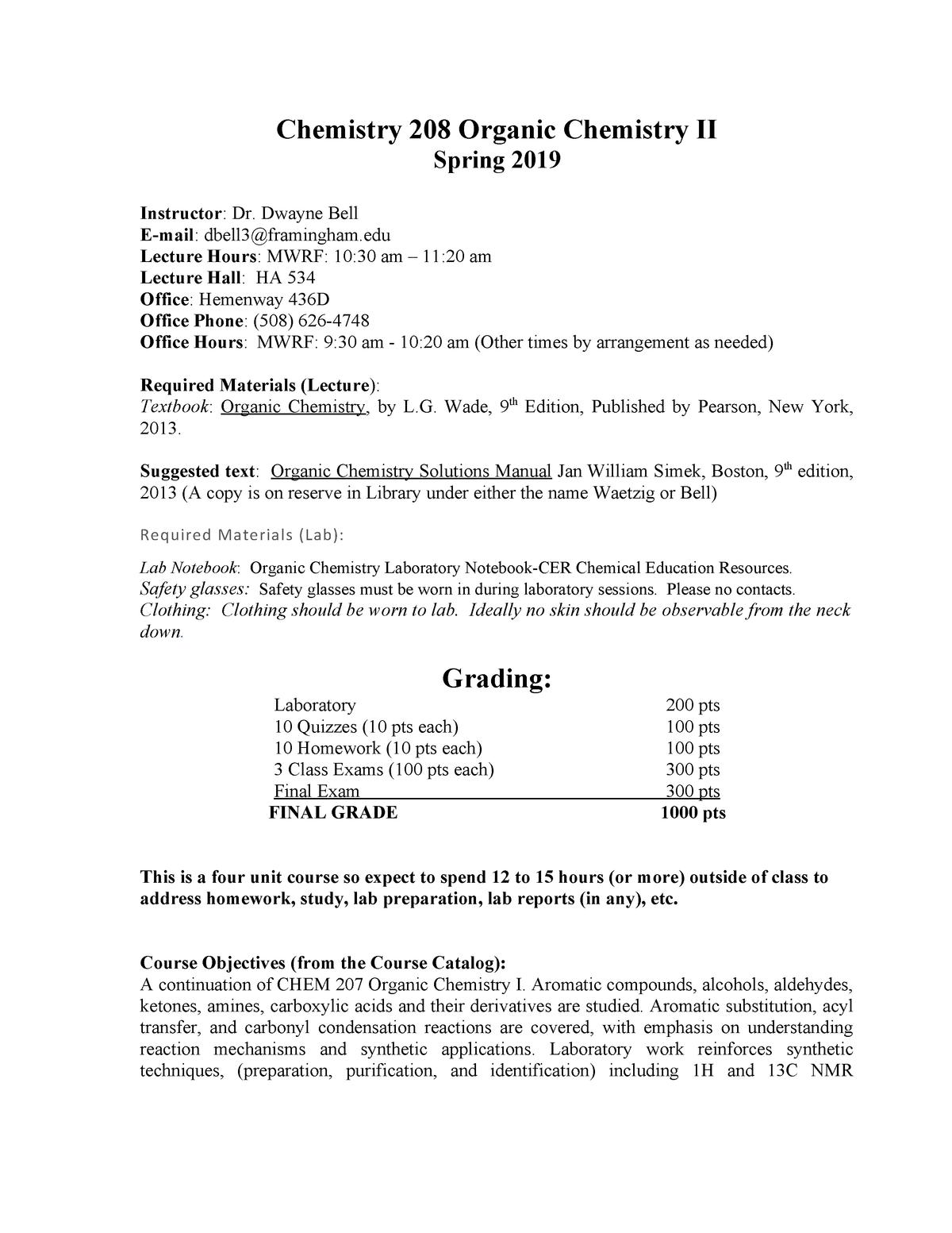 Chem 208 syllabus - Chem 208: Organic Chemistry II - StuDocu
