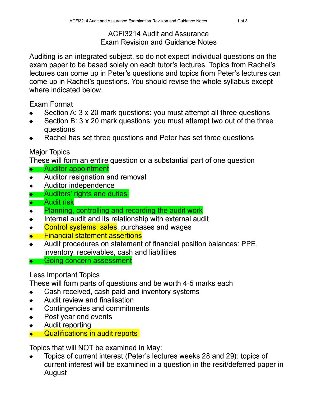 Audit revision - ACFI 5031 - StuDocu