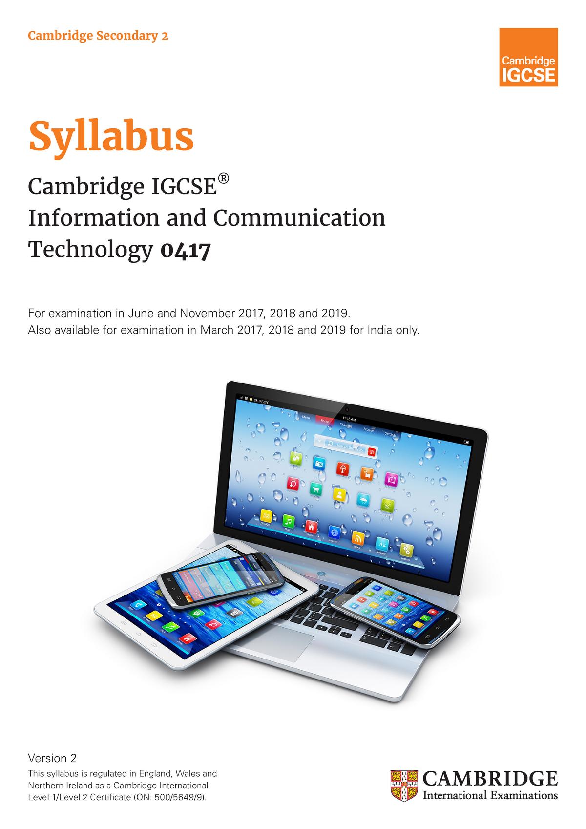 ICT 2017 2019 syllabus - 9626: Ict a level - StuDocu