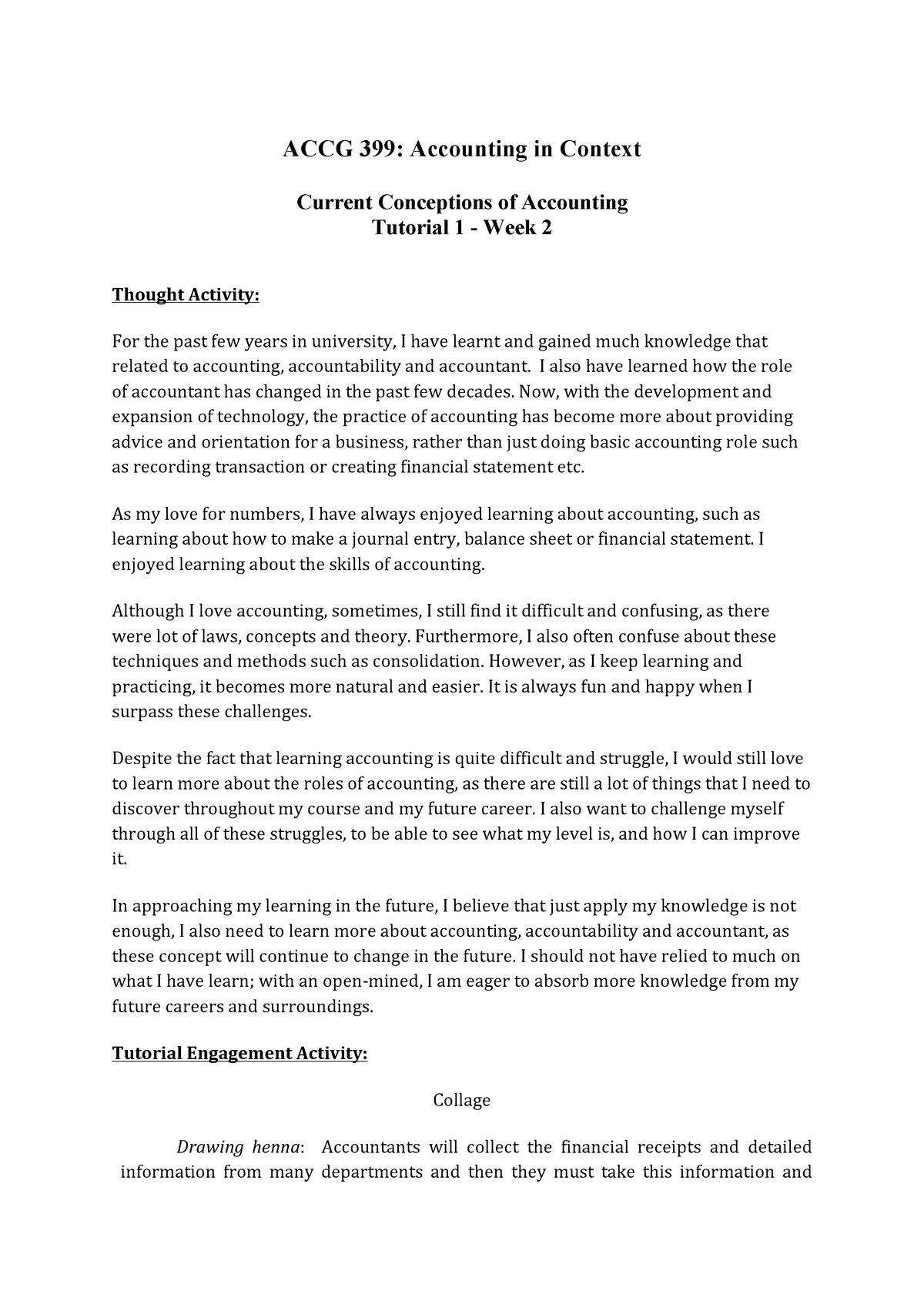 ACCG399 Portforlio - weekly assessment Tutorial work - Week