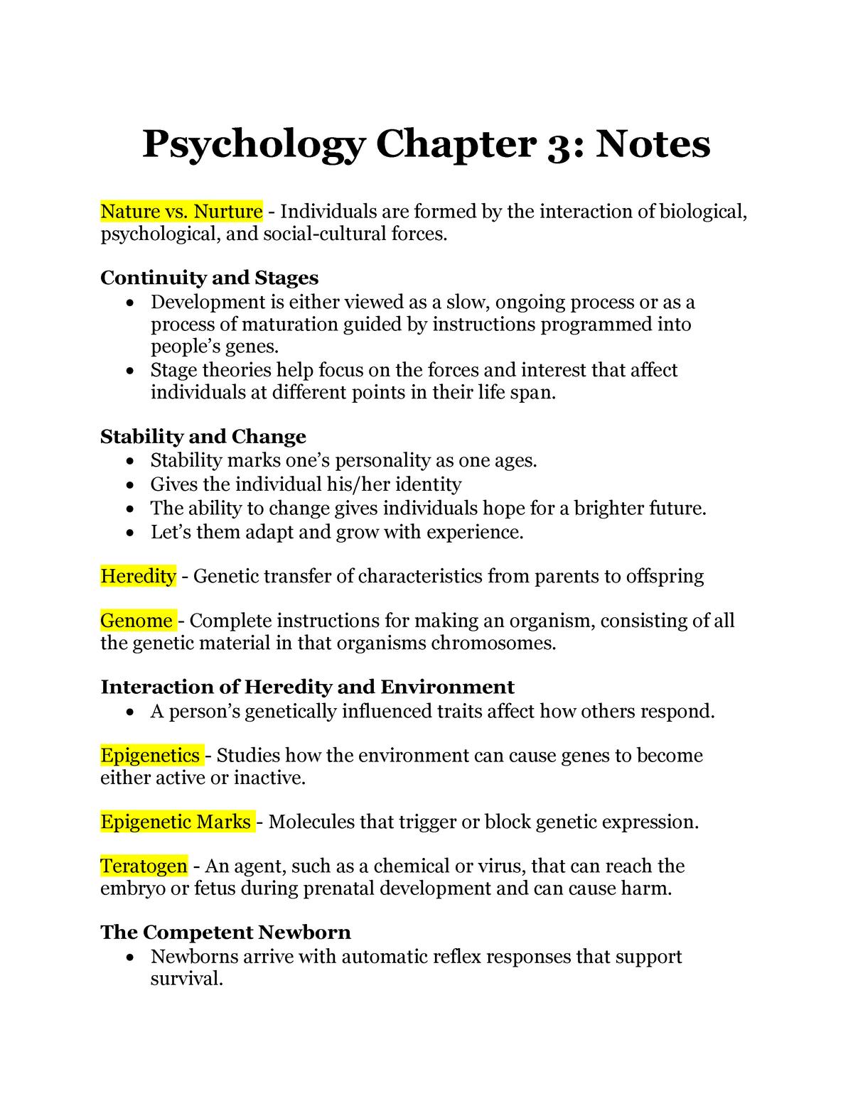 Psychology Chapter 3 Notes - PSY 2012 - HCC - StuDocu