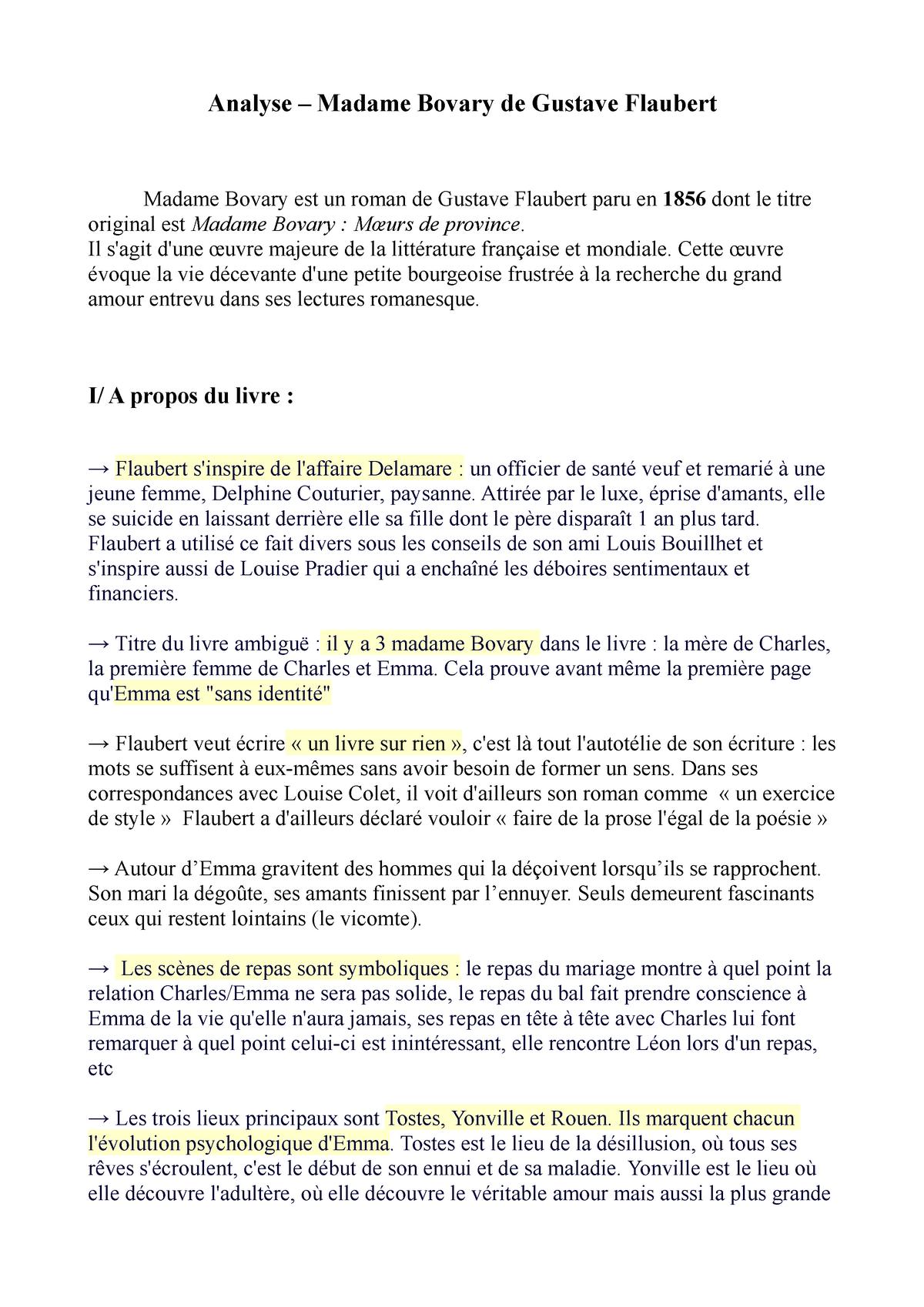 Analyse Madame Bovary De Gustave Flaubert Littérature Studocu