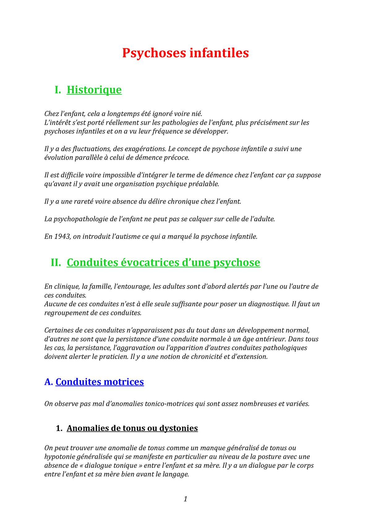 1. Psychoses infantiles - Leroy - Psychopathologie 2 - StuDocu